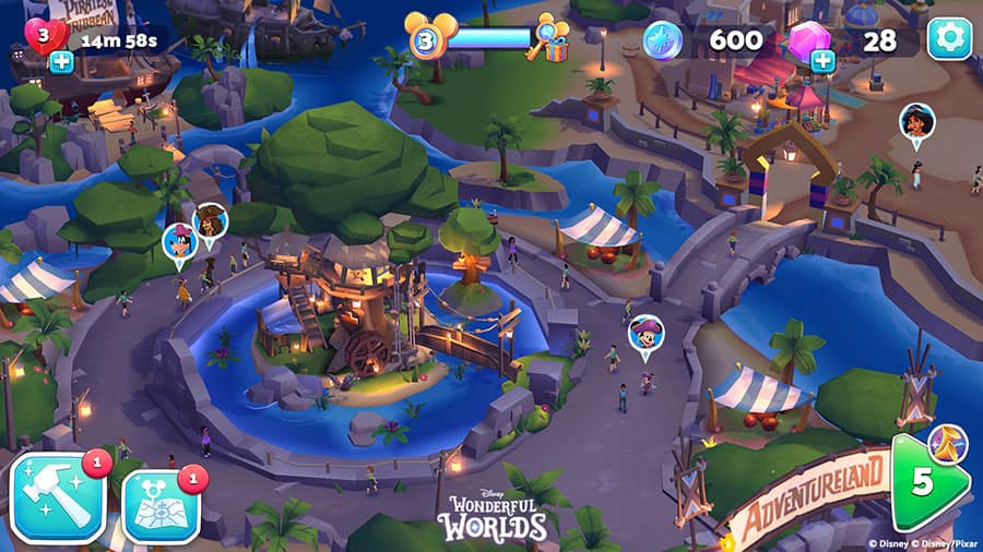 View of custom park you can create while playing Disney Wonderful Worlds