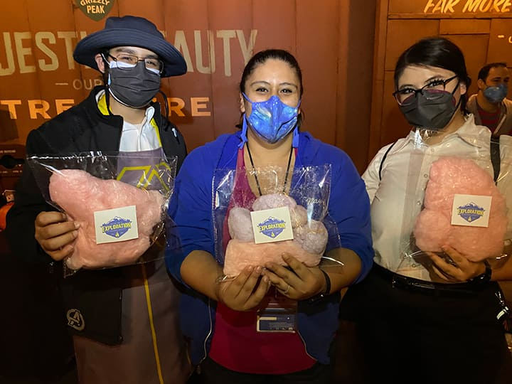 Cast members with Halloween cotton candy