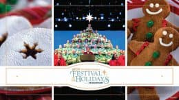 Graphic for the 2021 EPCOT International Festival of the Holidays Presented by AdventHealth