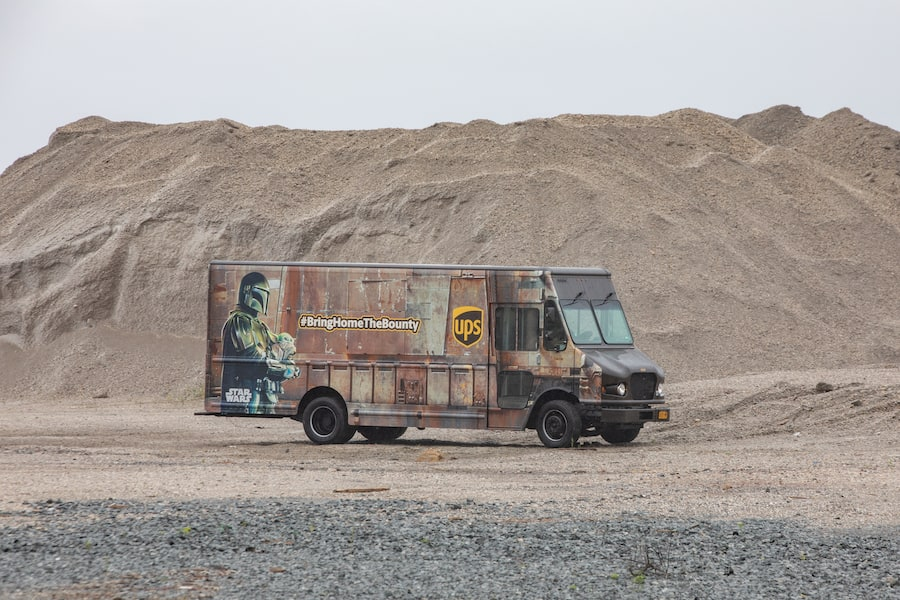 Specially wrapped UPS vehicle to resemble a Jawa sandcrawler