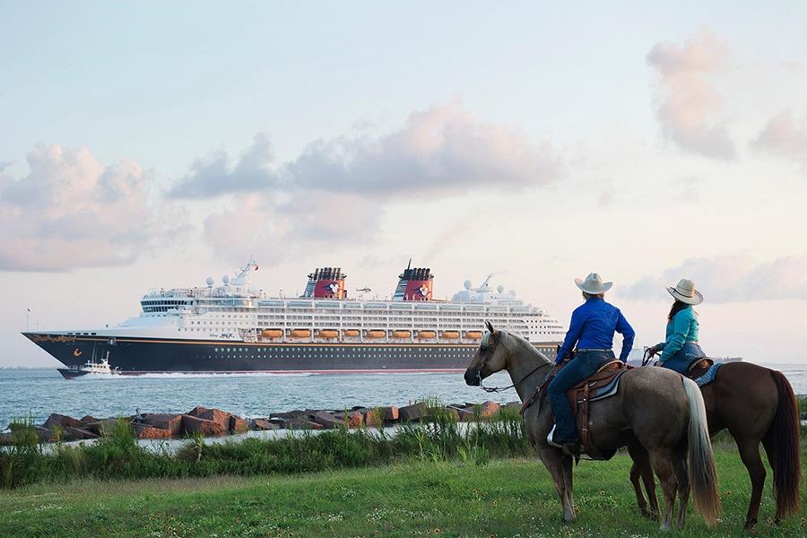 Disney Magic as it passes the shores of Texas
