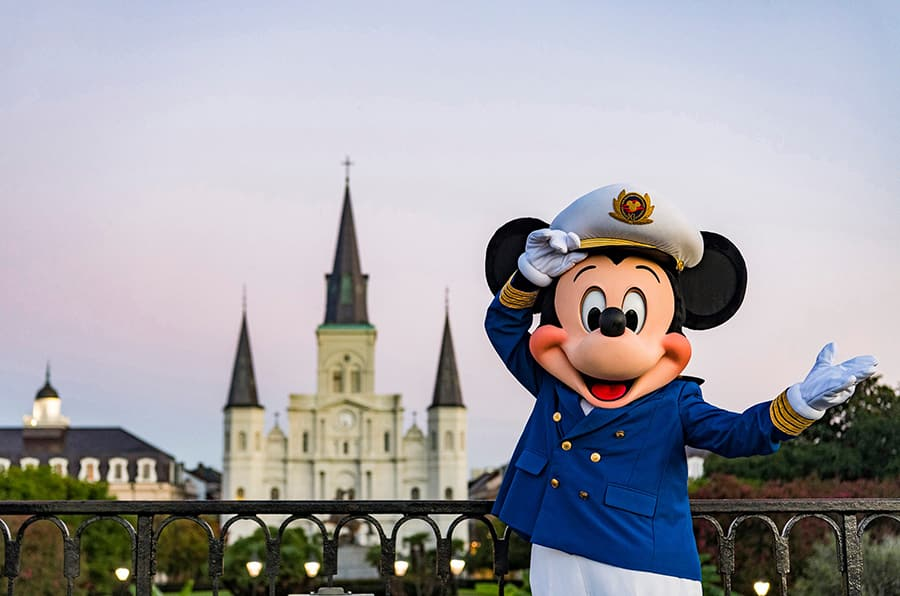 Mickey mouse in his Disney Cruise Line captains uniform