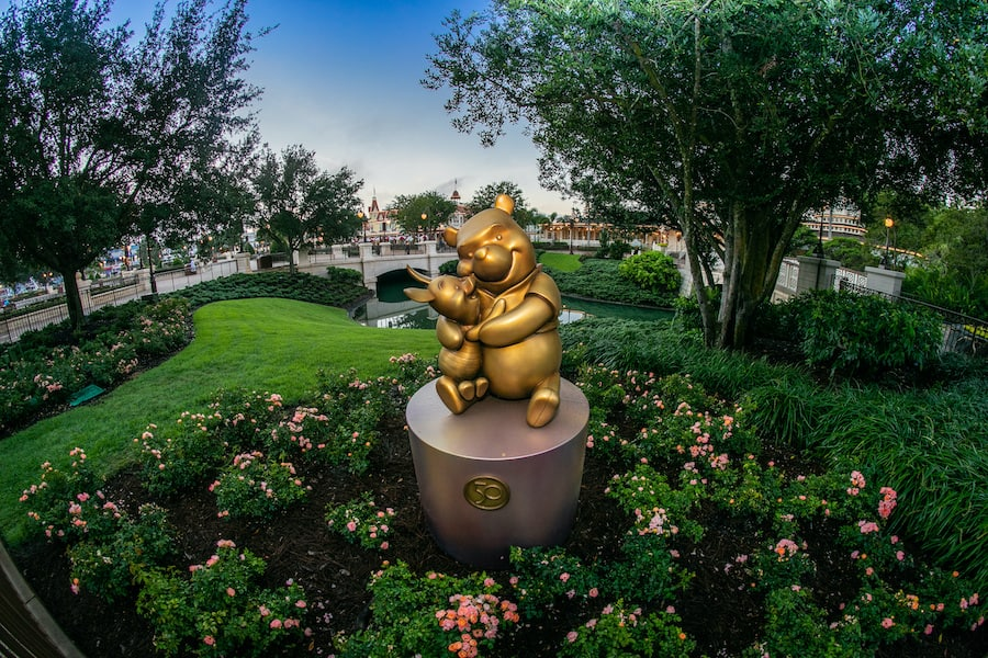 Winnie the Pooh statue at Magic Kingdom Park for The World's Most Magical Celebration