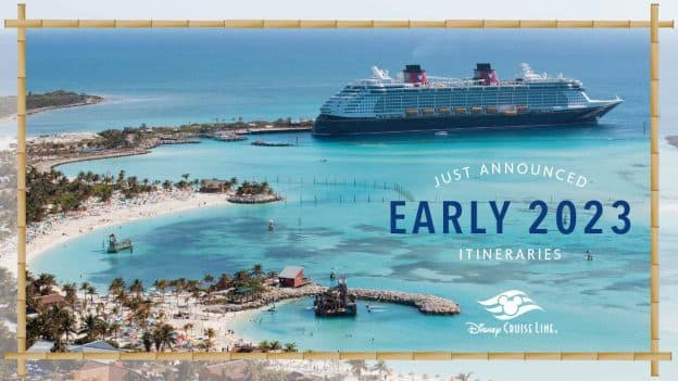 Disney Cruise Line ship at Castaway Cay graphic announcing the 2023 itineraries
