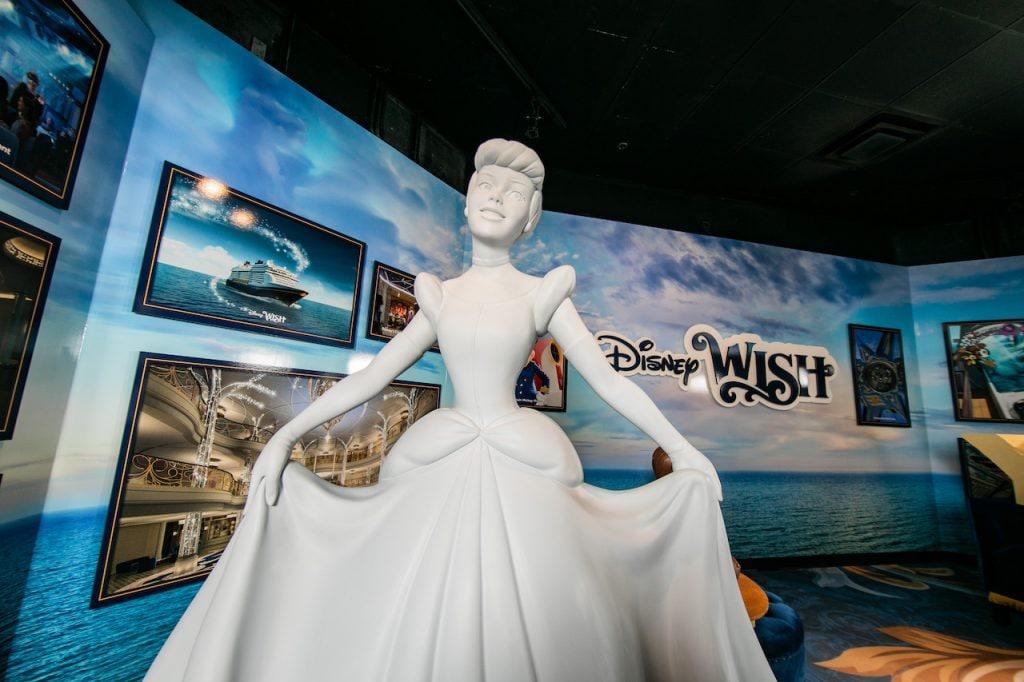 Cinderella statue at the Disney Wish exhibit at Disney's Hollywood Studios