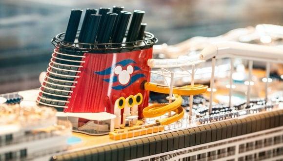 Close up of the Disney Wish model at t Disney's Hollywood Studios