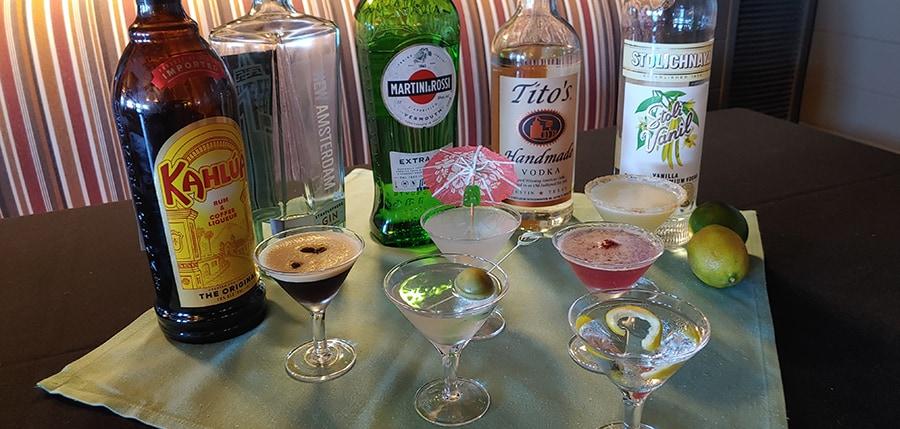 Martini cocktails at the Green Cabin Room Vero Beach