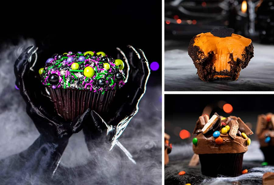 Fall foodie guide Disney Springs 2021 halloween themed cupcakes and filling