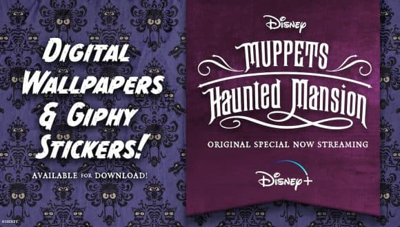 """Graphic for digital wallpapers and giphy stickers inspired by """"Muppets Haunted Mansion"""""""