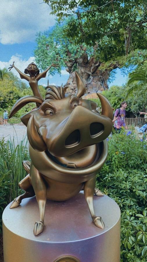 Fab 50 statue of Pumba and Timon at Disney's Animal Kingdom