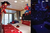 A Disney Cruise Line stateroom with Iron Man and Spider Man decorations near a nursery light
