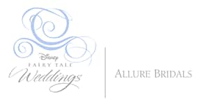 Logo for 'Disney Fairy Tale Weddings' next to the words 'Allure Bridals'