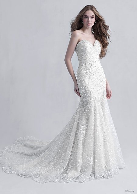 A woman wearing the Ariel wedding gown from the 2021 Disney Fairy Tale Weddings Platinum Collection