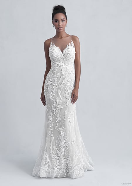 A woman wearing the Tiana wedding gown from the 2021 Disney Fairy Tale Weddings Platinum Collection