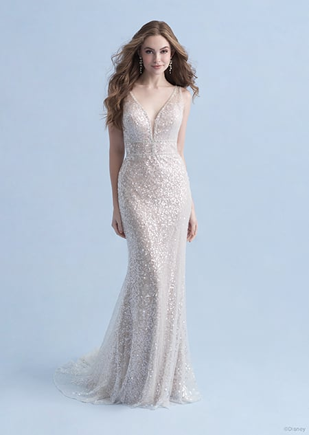 A woman dressed in the Ariel wedding gown from the 2021 Disney Fairy Tale Weddings Collection