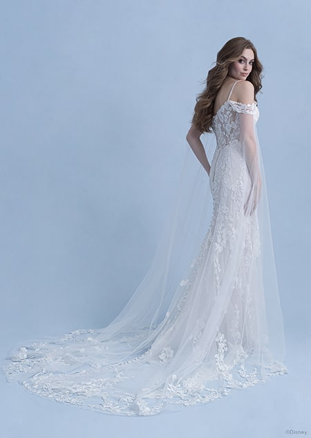 Backside view of a woman in the Rapunzel wedding gown from the 2021 Disney Fairy Tale Weddings Collection