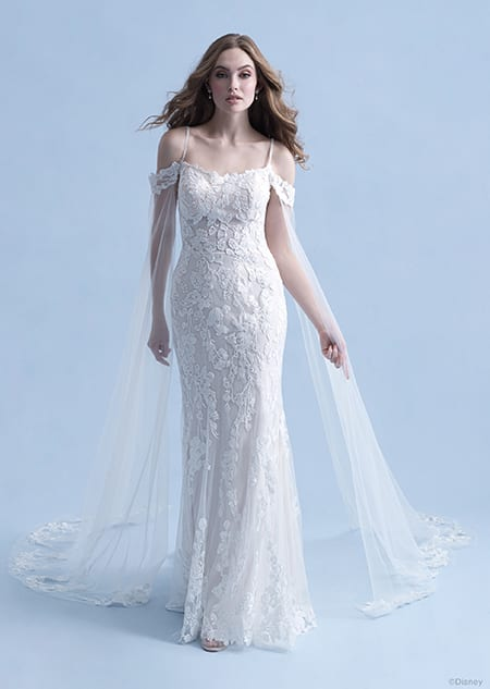 A woman wearing the Rapunzel wedding gown from the 2021 Disney Fairy Tale Weddings Collection