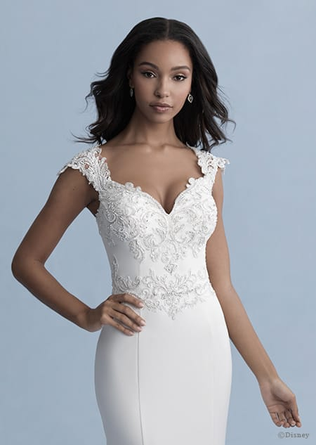 A woman in the Jasmine wedding gown from the 2020 Disney Fairy Tale Weddings Collection
