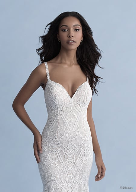 A woman in the Pocahontas wedding gown from the 2020 Disney Fairy Tale Weddings Collection