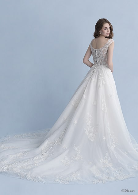A back side view of a woman in the Snow White wedding gown from the 2020 Disney Fairy Tale Weddings