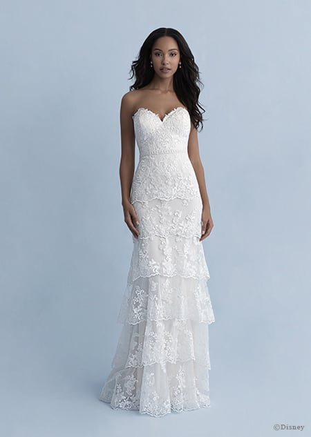 A woman in the Tiana wedding gown from the 2020 Disney Fairy Tale Weddings Collection