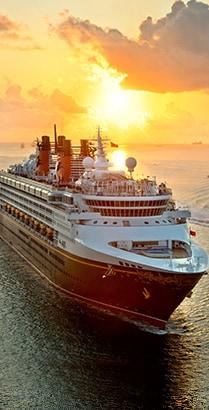 A Disney Cruise Line ship sailing in the ocean
