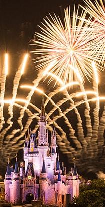 A fireworks display over Cinderella Castle at Magic Kingdom park in Florida