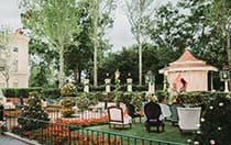 Armchairs on a lawn in front of a hege and canopy decorated for a ceremony