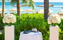 In a garden setting, 2 pillars topped with rose bouquets flank a table holding a book, 2 kukui nut leis and a conch shell