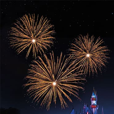 Fireworks over Cinderella's Castle at night