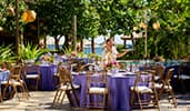 A Cast Member places water glasses on one of several outdoor banquet tables