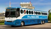 The Disney Magical Express motorcoach, styled with character images