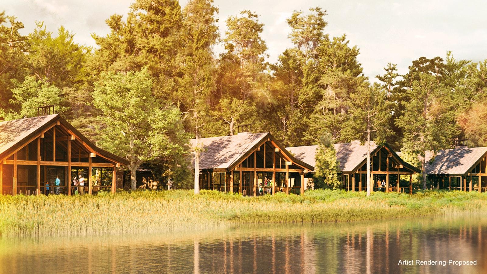 A row of 4 Cabins facing Bay Lake