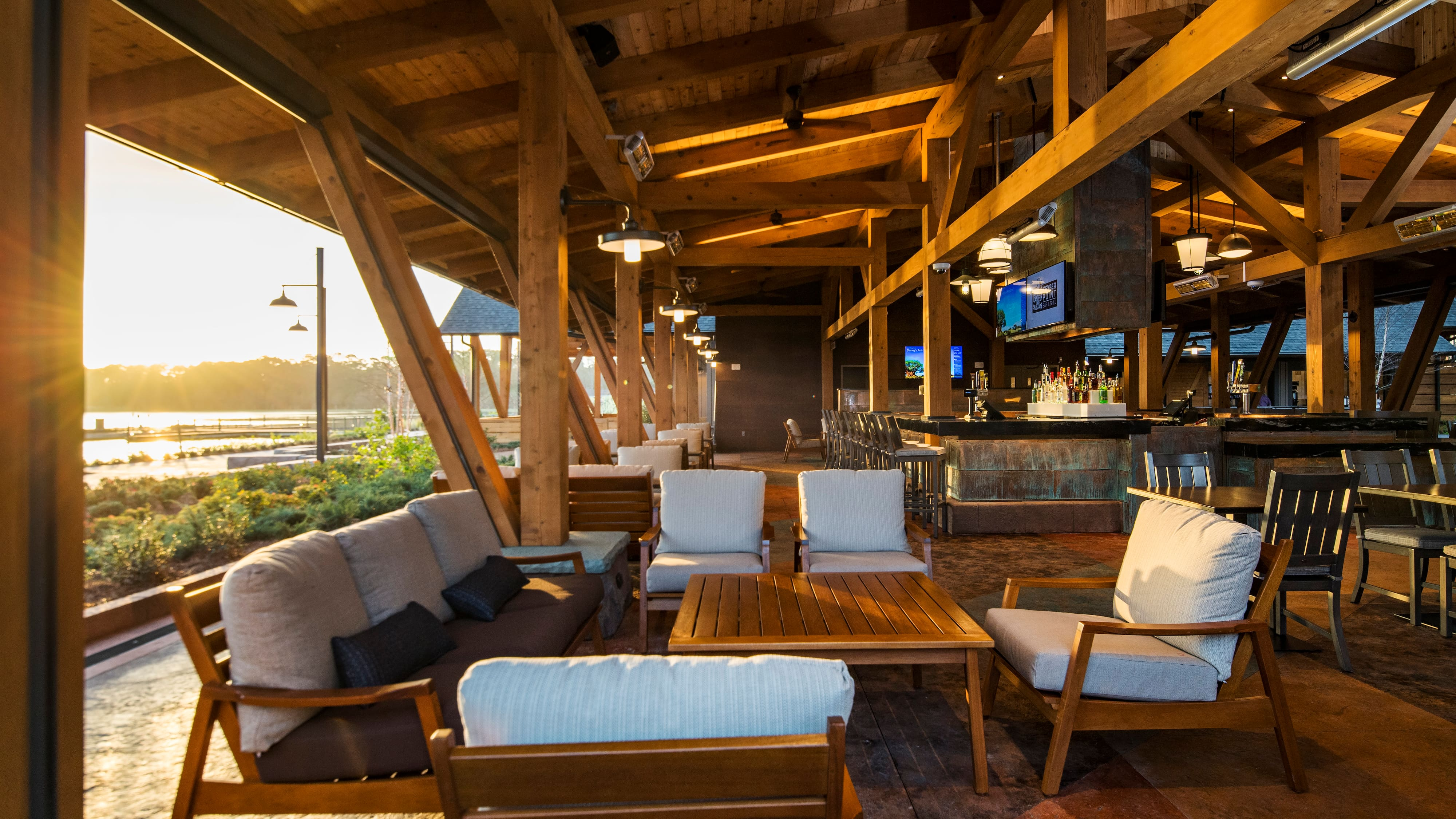 The Geyser Point Bar and Grill dining area with tables and chairs