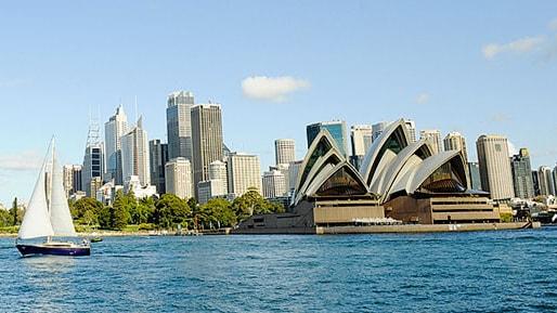 シドニーのオペラハウスと周囲のウォーターフロント