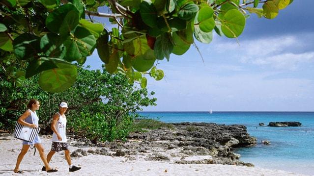 A couple on a beach in a Caribbean destination
