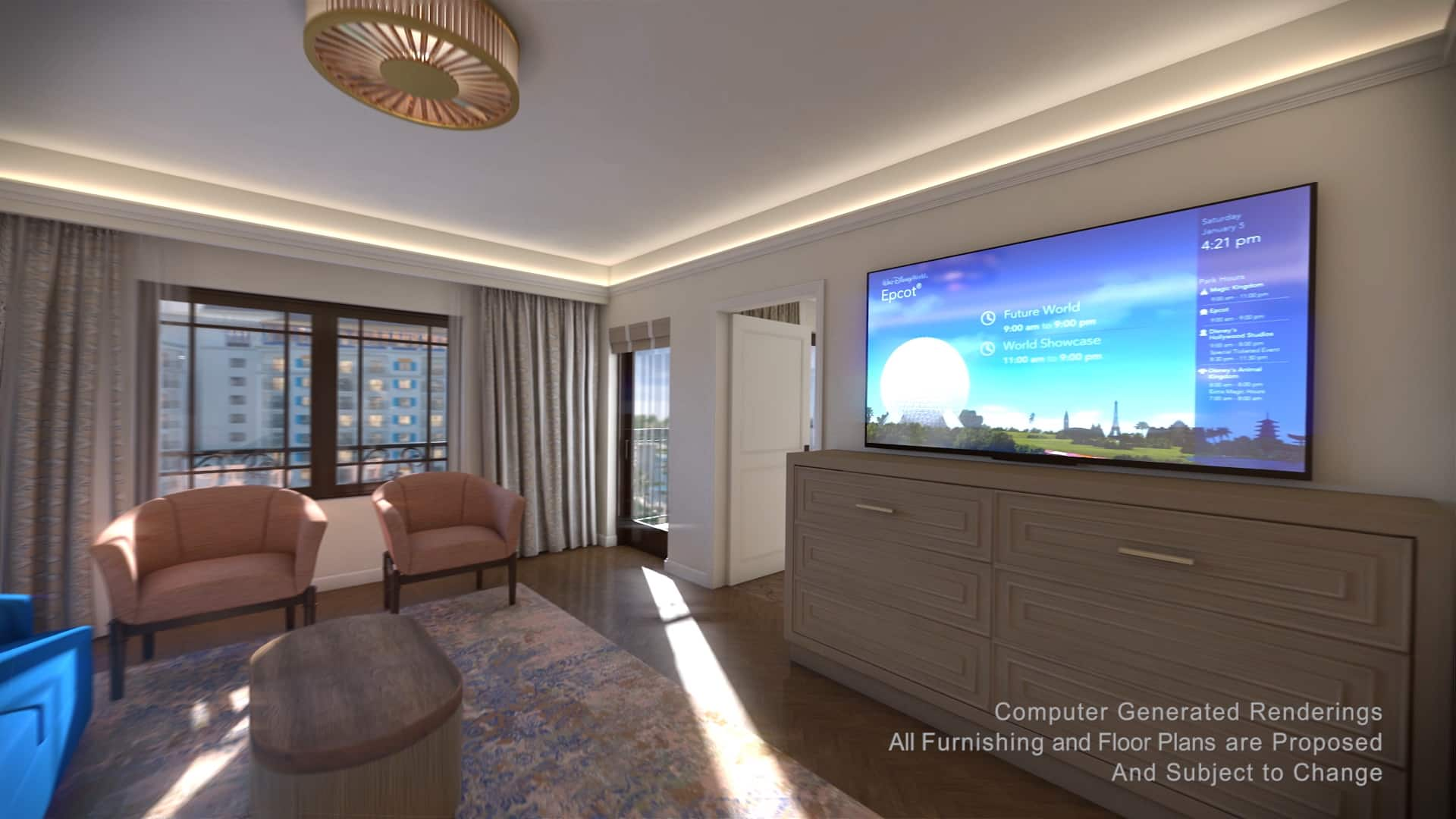 The living area of a villa, furnished with a television, 2 armchairs, a sofa and a coffee table