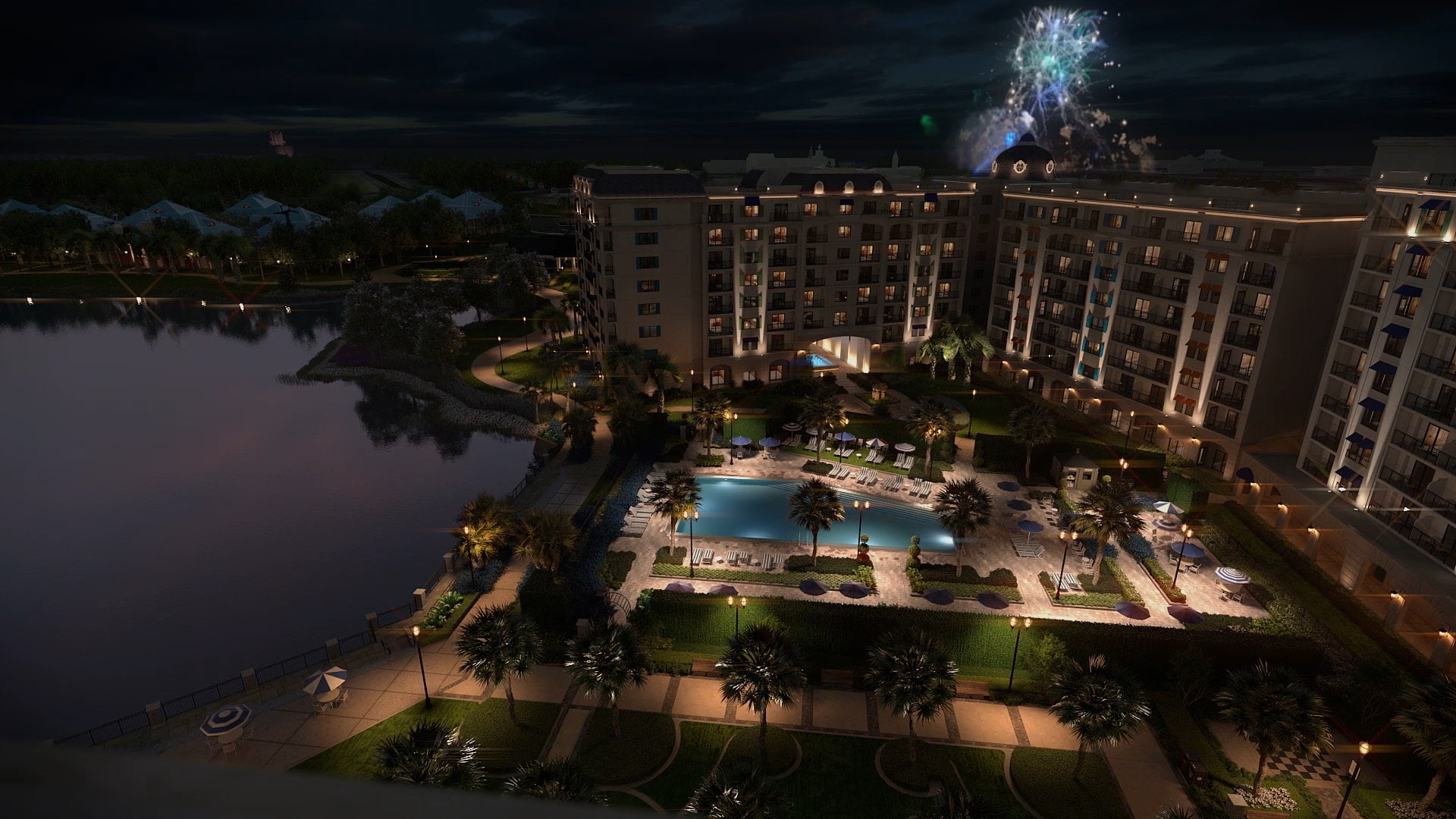 Fireworks bursting in the night sky above Disney's Riviera Resort