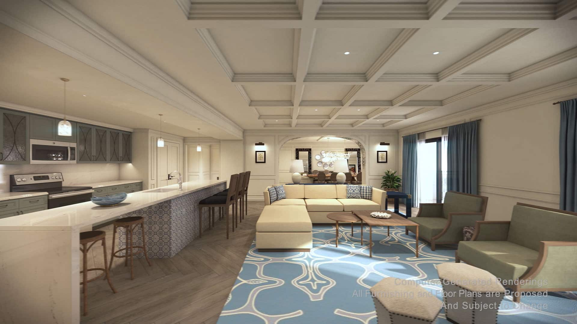 The kitchen and living area in a 3 Bedroom Grand Villa at Disney's Riviera Resort