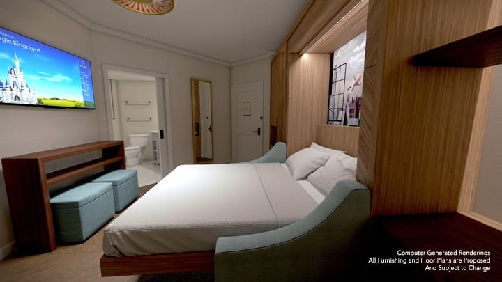 A Tower Studio at Disney's Riviera Resort, furnished with a pull down bed and 2 ottomans