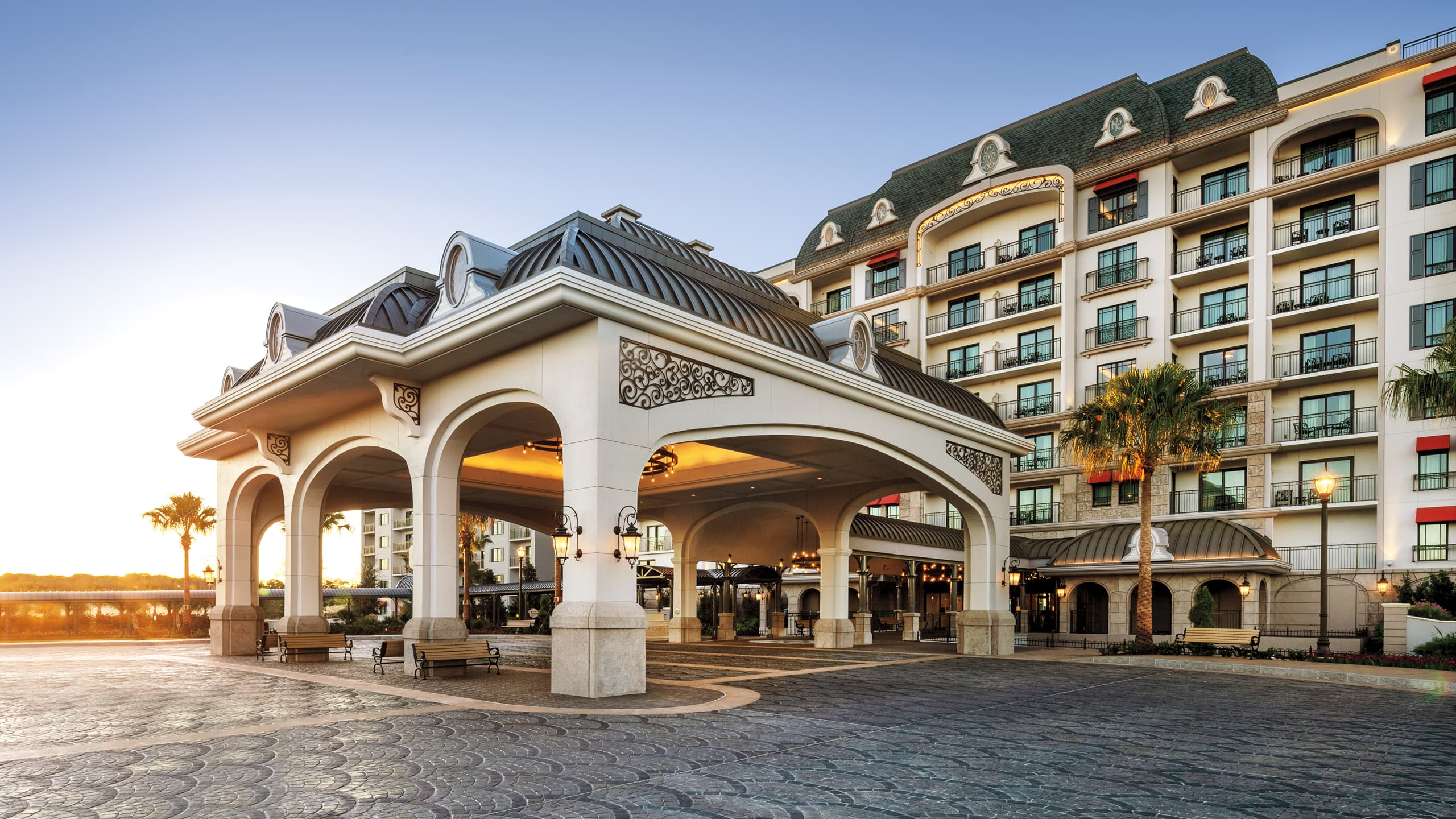 The grand entrance of Disney's Riviera Resort