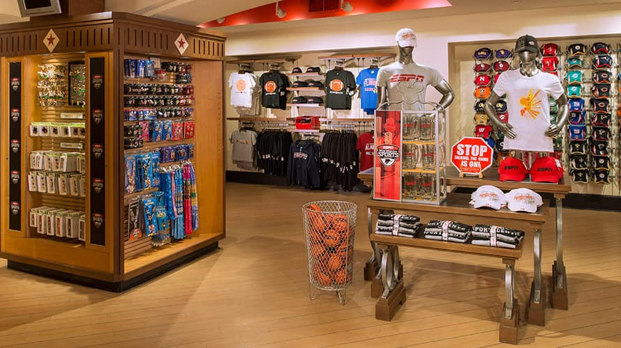 Inside ESPN Clubhouse Shop with merchandise on display 82739ccef5
