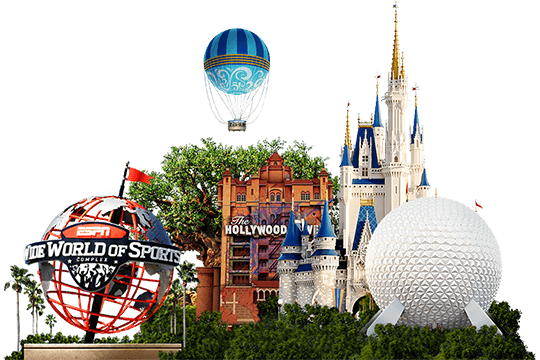 Five icons representing the Walt Disney World Resort theme parks and the ESPN Wide World of Sports Complex