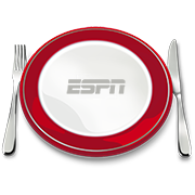 An ESPN dining icon with a plate flanked by a fork and knife