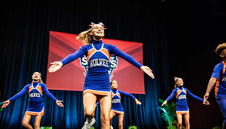A team of cheerleaders in 'Wolves' uniforms compete at ESPN Wide World of Sports Complex