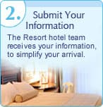 2. Submit Your Information: The Resort hotel team receives your information, to simplify your arrival.