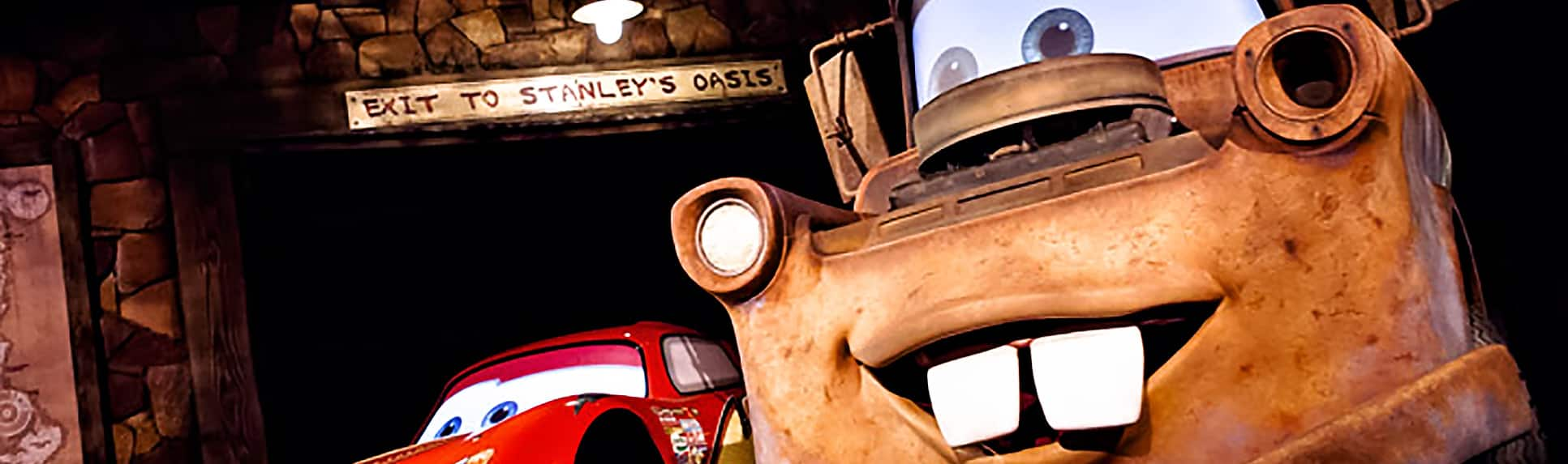 Lightning McQueen and Mater in the Radiator Springs Racers attraction