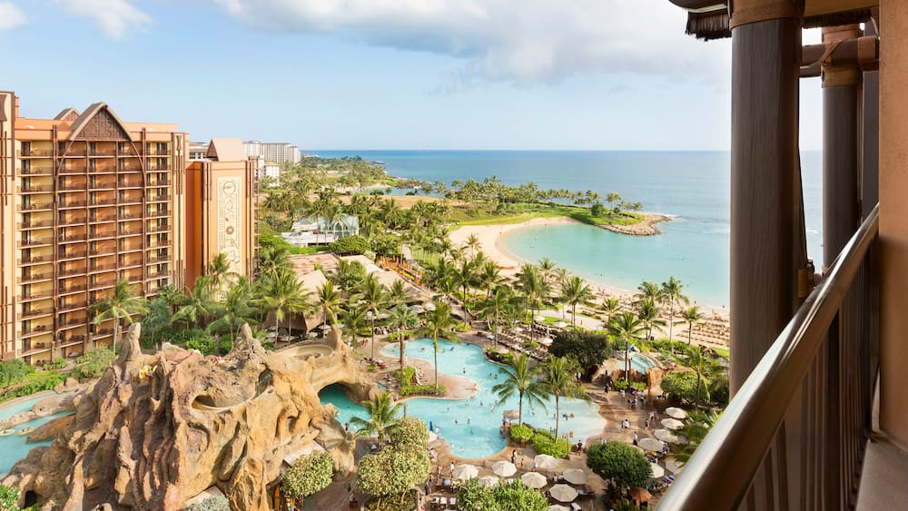 The pool area and beach at Aulani, A Disney Resort & Spa, Ko Olina, Hawai?i