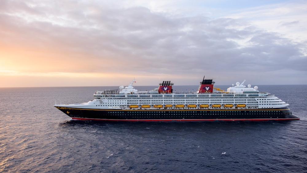 A Disney Cruise Line ship at sea