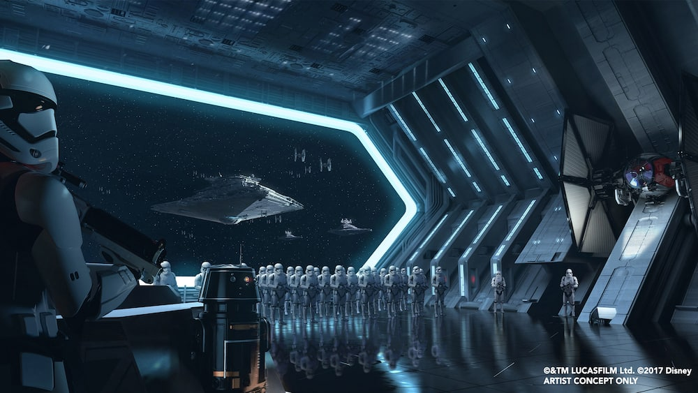 Conceptual art depicting stormtroopers standing in formation in the hangar of Starkiller Base